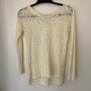 Hippie Rose cream light weave sweater v lace back